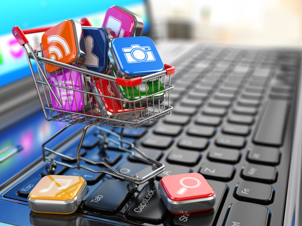 apps in cart on laptop