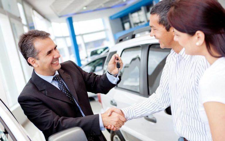 man selling a car